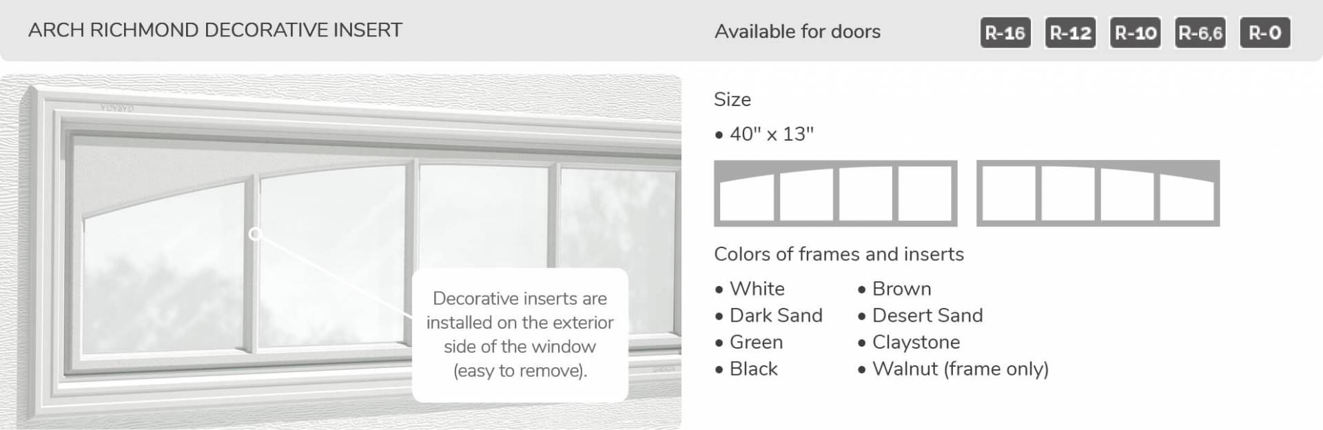 "Arch Richmond Decorative Insert, 40"" x 13"", available for doors R-16, R-12, R-10, R-6.6, R-0"