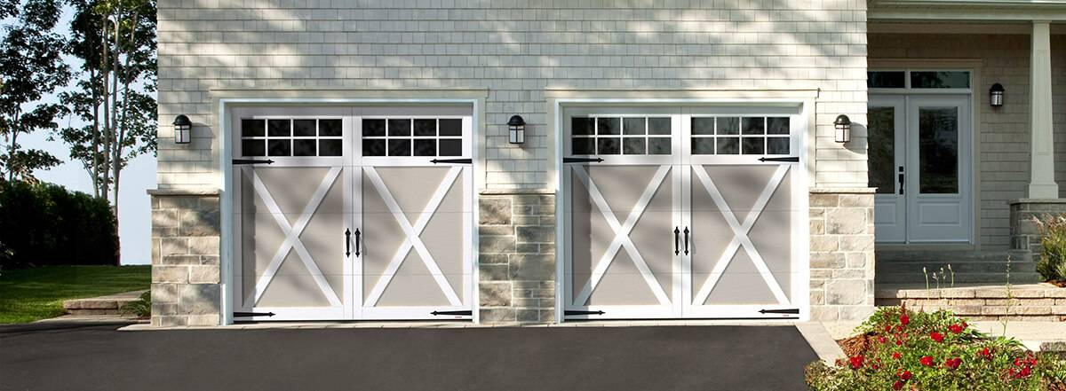 Eastman E-21, 9' x 7', Claystone doors and Ice White overlays, 8 lite Panoramic windows